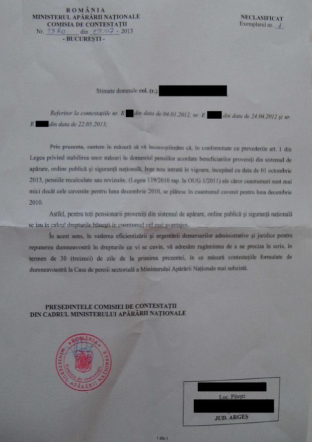 notificare de la MApN privind renuntarea la contestatii
