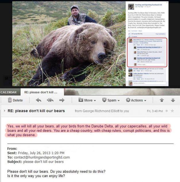 ursul impuscat si raspunsul vanatorului