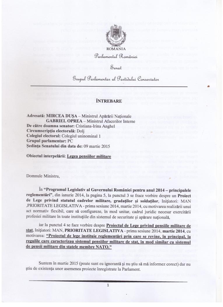 Intrebare Mircea Dusa si Gabriel Oprea - Pensii militare 09 martie 2015 pg. 1